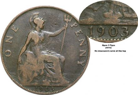 1903 Edward VII Open 3 type Bronze penny